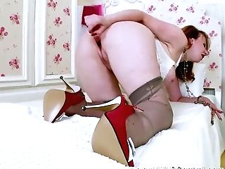 Big-boobed Matures Sandy-haired Strips Off Undies Finger Fucks Playthings In Retro Open Brassiere Nylons High-heeled Slippers Garters