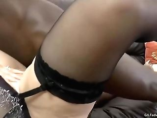 Black Stud Is Fucking A Hot, Blonde Granny In The Booty And Ejaculating Inwards Her