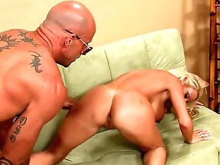 Bald Headed Dude Picks Up Faux Tittied Towheaded Chick Regan Anthony