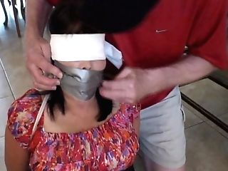 Monica Blinded Tied And Ball-gagged