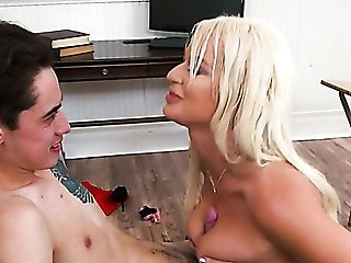 Big Boobed Blonde Tutor London Sea Penalizes Kinky Student With Fuck