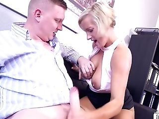 Leni - German Blonde Big-titted Cougar Chief Fucks Two Guys At The Office - Bridgette B