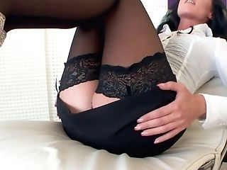 German Cougar In Stockings July Sun Finger Fucks Cunt Rear End Style