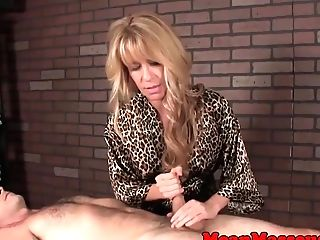 Huge-titted Mummy Masseuse Tugging And Smacking Dick