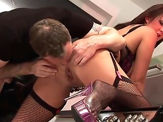 Lucky Dude Fucks A Jiggly Dark Haired On The Kitchen Counter