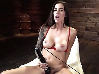 Strapped Gams Huge-chested Honey Fucks Machine