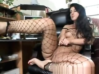 Elegant Black-haired In Fishnets Shows Off Her Footjob And Blowage Abilities
