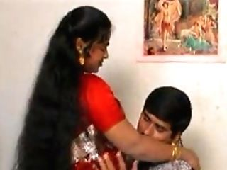 Crimson Saree Aunty