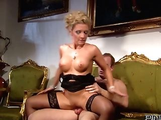 Classy Whore In Black Stockings Rails Her Paramour's Dick Like A Cowgirl